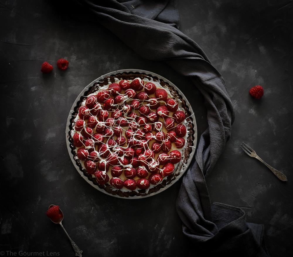 Chocolate Raspberry Coconut Tart