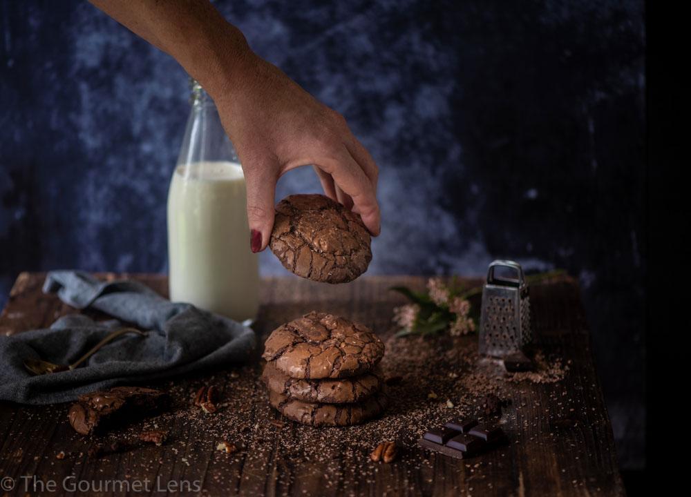 The Gourmet Lens chocolate pecan brownie cookies