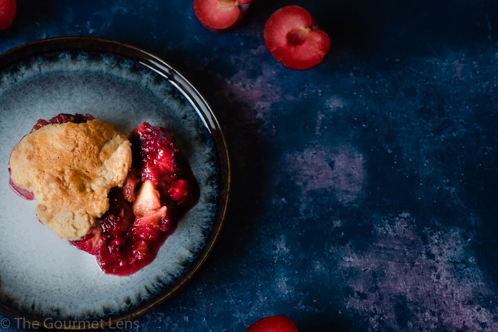 The Gourmet Lens Plum Breakfast Cobbler