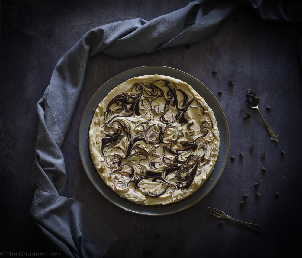 The Gourmet Lens Chocolate Swirl Baileys Cheesecake